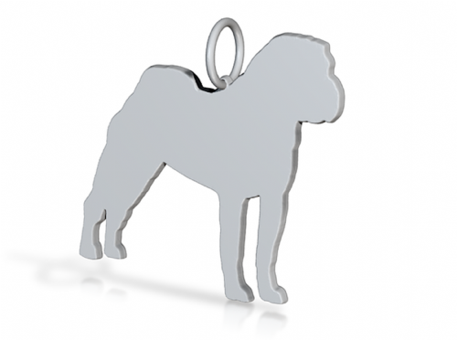 sharpei dog pendant  necklace sterling silver handmade